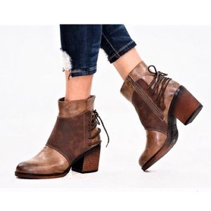 New. Tan Ankle Bootie with Lace Up Details